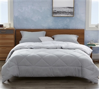 Glacier Gray/White Queen Comforter - Oversized Queen XL Bedding