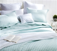 Mint Green Oversized Full XL Quilt - Pre-Washed with Cotton Fill - Textured - Embroidered