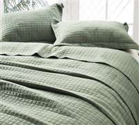 Classic Supersoft Quilt - Pre-Washed with Cotton Fill - Moss Green - Oversized King XL
