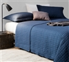 Oversized Full XL Quilt - Pre-Washed - Cotton Fill - Navy Blue - Microfiber - Textured