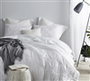 Stylish White King XL Comforter with Textured Unique Waves. Soft King XL Bedding