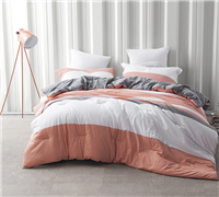 Vanilla Slate Twin XL Comforters - softest bedding comforter sets gray, coral, and white