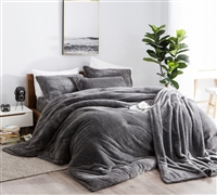 Charcoal Gray Plush Coma Inducer Queen XL Comforter Oversized Soft Queen Bedding