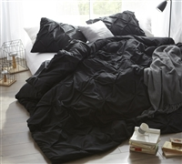 Black Pin Tuck King sized Duvet Cover with 2 matching sham sets