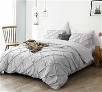 Essential Twin XL Oversized Bedding Stylish Glacier Gray Extra Long Twin Duvet Cover Pretty Pin Tuck Design