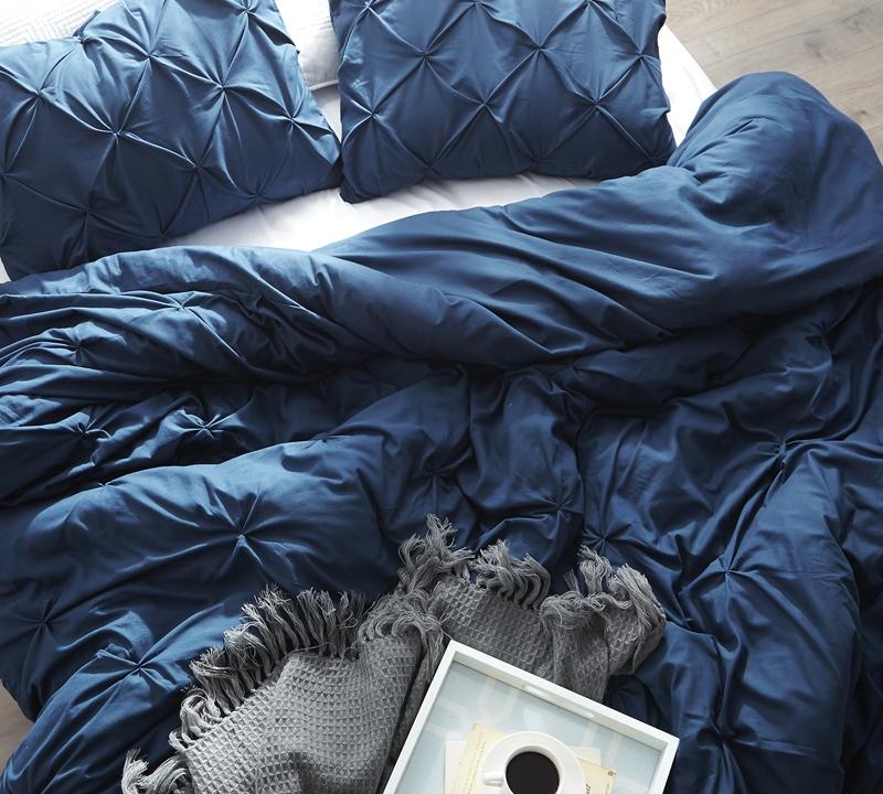 Twin Duvet Cover Oversized Nightfall Navy Pin Tuck Duvet