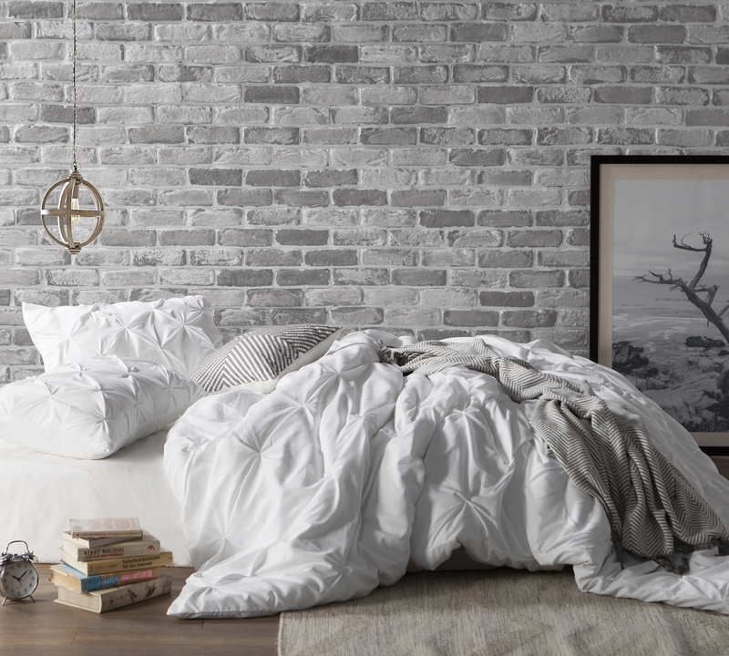 White Pin Tuck Twin Duvet Cover Oversized Twin Xl