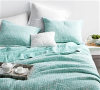Filter Stone Washed Cotton Quilt - Hint of Mint - Oversized Full XL
