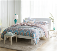 Soft and Stylish Extra Large Full Bedding Gray, Blue, and Pink Full XL Daydream Comforter with White Diamond Design
