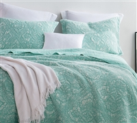 Gradient Stone Washed Cotton Quilt - Hint of Mint - Oversized Full XL