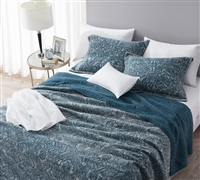 Gradient Stone Washed Cotton Quilt - Nightfall Navy - Oversized Full XL
