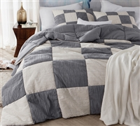 Jet Stream/Alloy Blended Textured Quilt - Two Tone - Oversized King XL