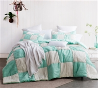 Jet Stream/Yucca Blended Textured Quilt - Two Tone - Oversized Queen XL