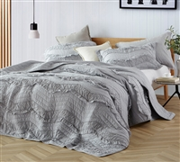 Extra Long Full Bedding Set with Full XL Quilt and (2) Matching Gray Shams One of a Kind Relaxin' Chevron Ruffles Single Tone Glacier Gray
