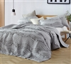 One of a Kind King Sized Bedding Stylish Gray King Oversize Bedding Decor and Cozy King XL Quilt Glacier Gray Relaxin' Chevron Ruffles Quilt Single Tone Design