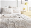 Unique Oversized King Quilt Jet Stream Single Tone Off White King XL Bedding One-of-a-Kind Relaxin' Chevron Ruffles Design