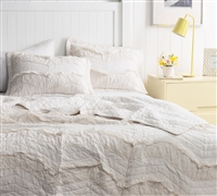 Off White Extra Long Twin Bedding Jet Stream Single Tone Relaxin' Chevron Ruffles Oversized Twin XL Quilt