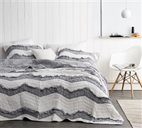 One of a Kind Oversized King Bedding Jet Stream/Alloy Off White and Gray King XL Quilt Unique Relaxin' Chevron Ruffles Two Tone Design