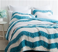 Off White and Blue Two Tone Oversized King Quilt Stylish Jet Stream/Peacock Relaxin' Chevron Ruffles King XL Bedding