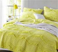 Oversized Queen Quilt Limelight Yellow Relaxin' Chevron Ruffles Single Tone Queen XL Bedding Quilt
