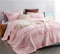 Oversized Full Bedding Single Tone Rose Quartz Pretty Pink Unique Relaxin' Chevron Ruffles Design Extended Full Quilt