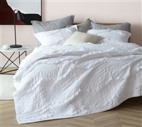 Comfortable Oversized King Bedding Single Tone White Relaxin' Chevron Ruffles Textured Pattern Quilt Unique King XL Quilt and (2) King Size Shams