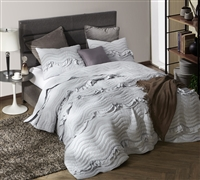 One-of-a-Kind Oversized King Quilt Handcrafted Ruffle Textured Pom-Pom Waves Light Gray King XL Bedding