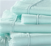 Hint of Mint Bedding Sheets in Queen - Eyelash Textured Queen Bed Sheet Sets Mint