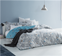Splash Twin XL Comforter - gray sketched flowers with yellow and blue accents on white backdrop - Softest bedding comforters Twin oversize