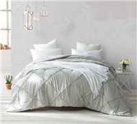 Beige Khaki Queen Oversize Comforter Stylish Silver Birch Gathered Ruffles Handcrafted Series Extended Queen Bedding
