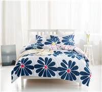 Stylish Cobalt Bloom Unique Daisy Design King XL Comforter Colorful Oversize King Bedding