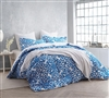 Extra Long Full Size Bedding Comforters - Crystalline Blue Bed Comforter Sets in Full XL