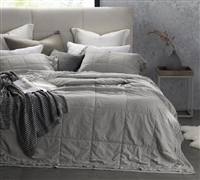 High Quality Twin XL, Full, Queen, and King Gray Quilt Made with Percale Stone Wash 200TC Cotton Leixoes Textura Made in Portugal Bedding