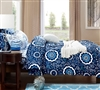 Comfortable Bed Comforter in Full XL - Aqua Notes Comforter Sets Oversize Full Size