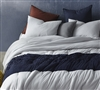 Navy Blue and Gray Queen XL Bedding Unique Handcrafted Tundra Gray Knit with Navy Jacquard Oversized Queen Comforter