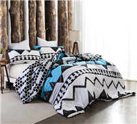 One-of-a-Kind King XL Comforter Black White and Aqua Kray Eccentric Design Comfortable King Oversize Bedding