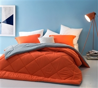 Queen Size Bedding Comforters - Orange Gray Reversible Bed Comforter Sets in Queen