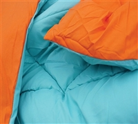 Queen SIze Comforters in Caribbean Ocean & Orange - Caribbean Ocean Orange Reversible Bedding Comforter Sets in Queen