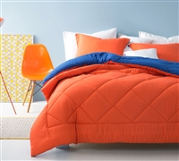 Orange/Blue Reversible King Comforter - Oversized King XL Bedding