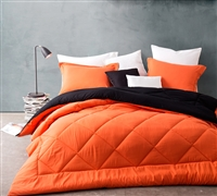 Orange Black Reversible Comforter Sets Queen Size - Softest Comforter Sets in Queen