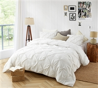 Farmhouse White Pin Tuck Twin Comforter  - Oversized Twin XL Bedding