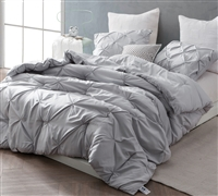 Unique Extended Twin Extra Long Comforter Glacier Gray Comfortable Oversized Twin XL Bedding with Stylish Pin Tuck Design
