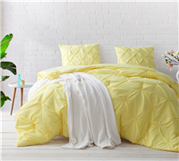 Limelight Yellow Pin Tuck King Comforter - Oversized King XL Bedding