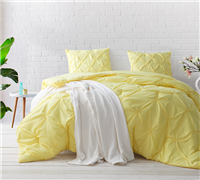 Limelight Yellow Pin Tuck Twin Comforter  - Oversized Twin XL Bedding