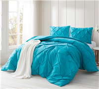 Peacock Blue Pin Tuck Twin Comforter  - Oversized Twin XL Bedding