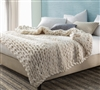 Pure Australian Woolen Blanket - Chunky Knit Oversized Bedding (Natural)