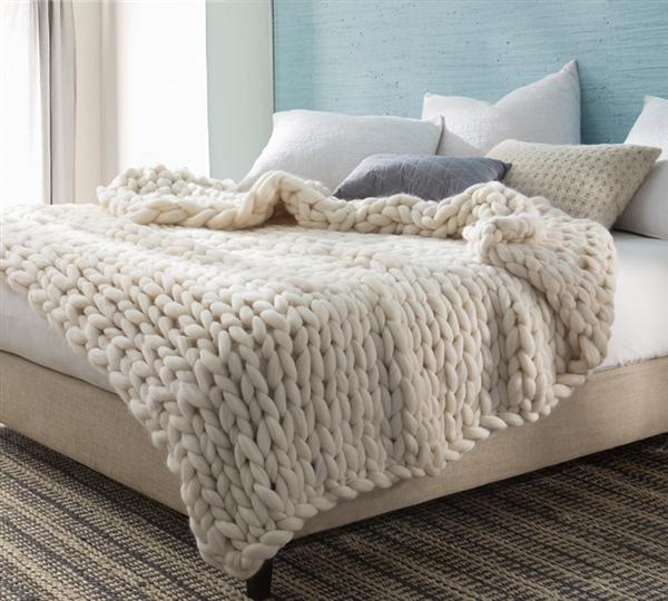 Pure Australian Woolen Blanket Chunky Knit Oversized