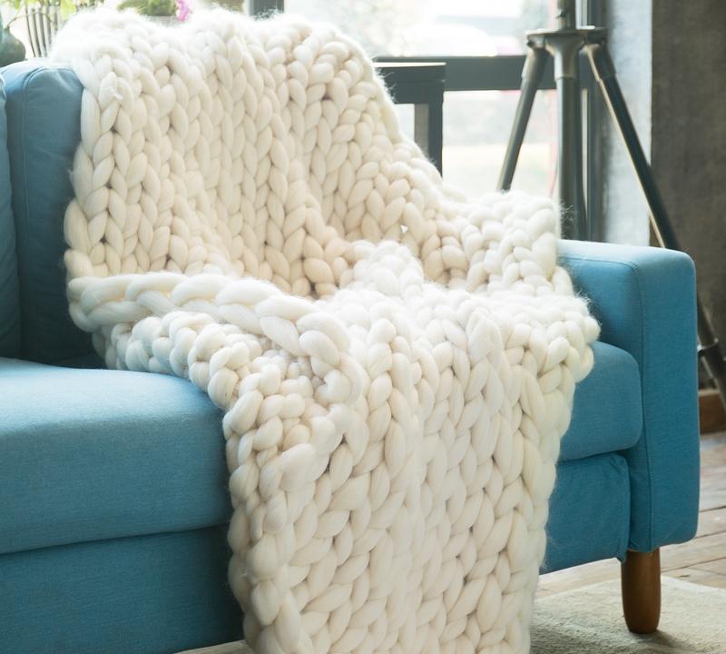 Pure Australian Woolen Blanket Chunky Knit Throw Sized