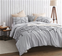 Alexandra Textured King Duvet Cover - Oversized King XL - Glacier Gray