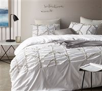 Alexandra Textured King Duvet Cover - Oversized King XL - White